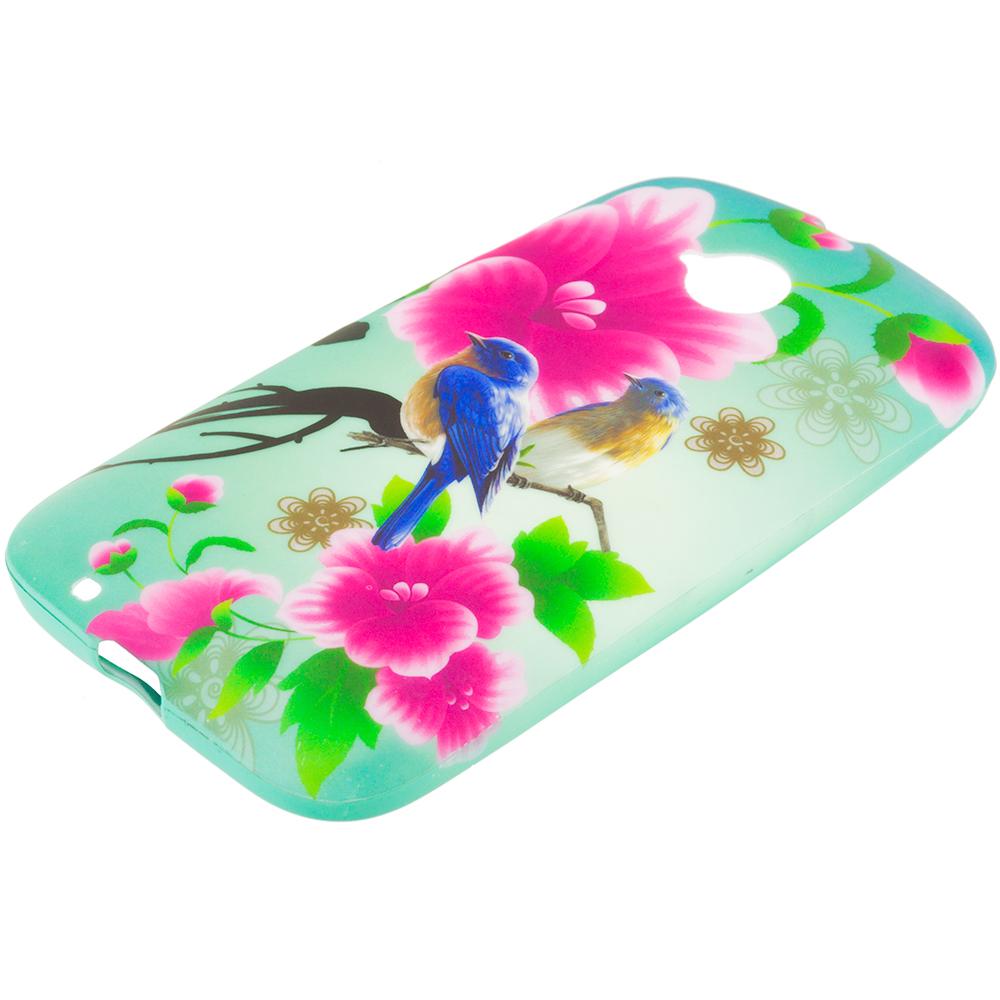 Motorola Moto E LTE 2nd Generation Blue Bird Pink Flower TPU Design Soft Rubber Case Cover