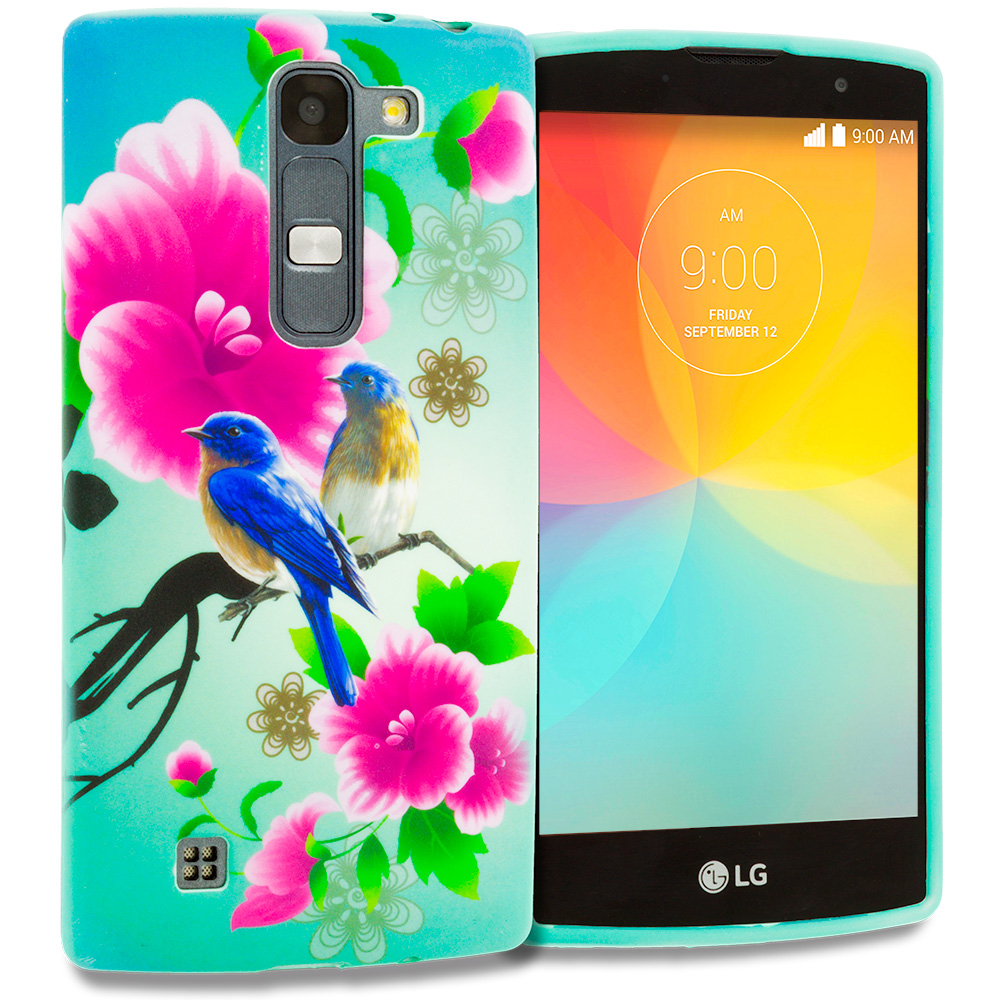 LG Escape 2 Logos Spirit LTE Blue Bird Pink Flower TPU Design Soft Rubber Case Cover