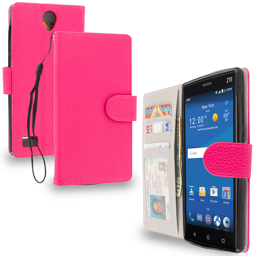 ZTE Zmax 2 Hot Pink Leather Wallet Pouch Case Cover with Slots
