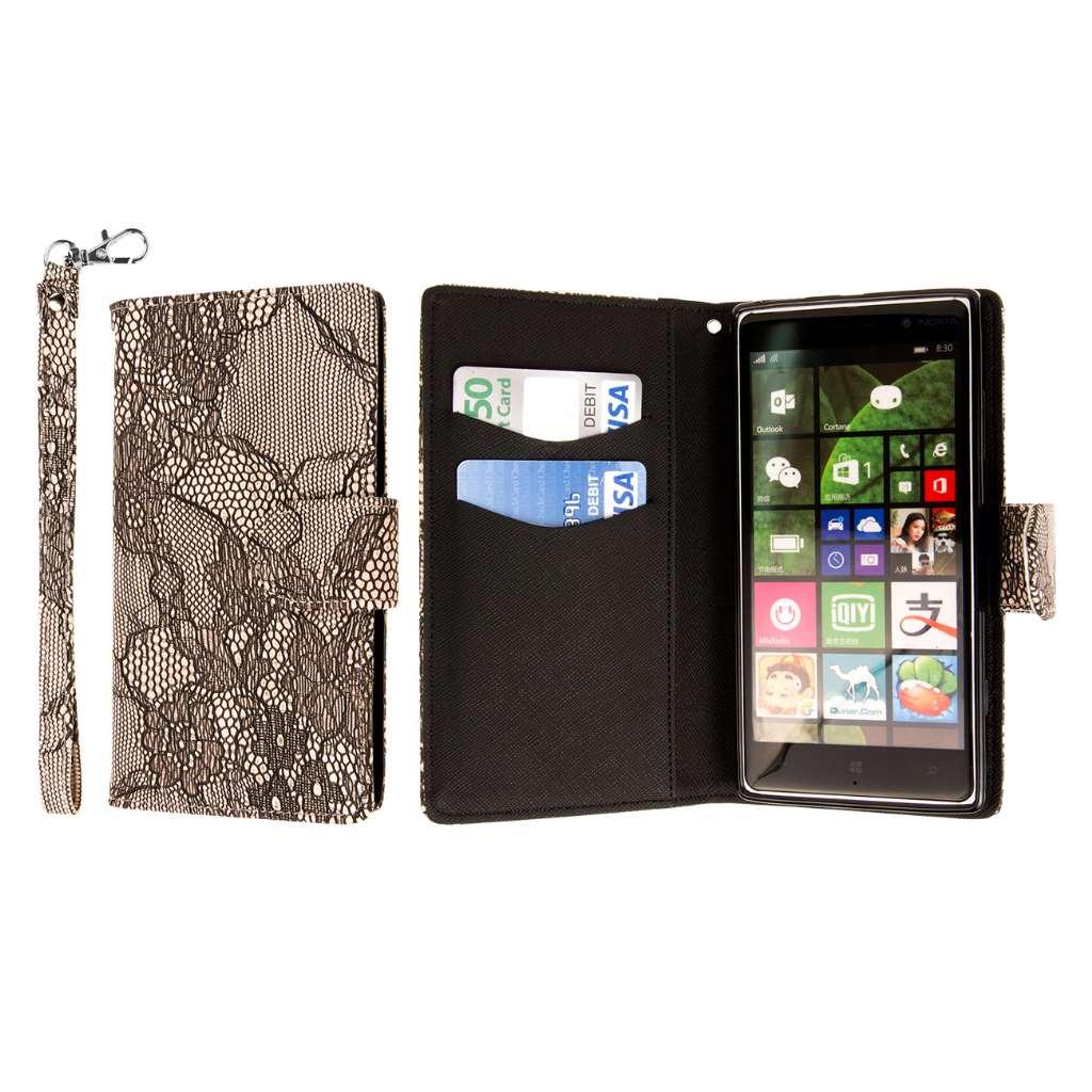 Nokia Lumia 830 - Black Lace MPERO FLEX FLIP Wallet Case Cover