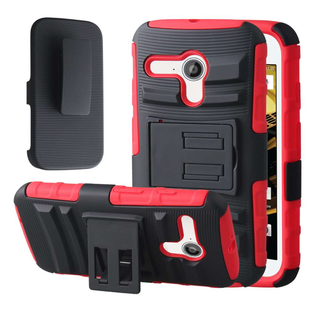 Motorola Moto E 2nd Generation - Red MPERO IMPACT XT - Kickstand Case Cover