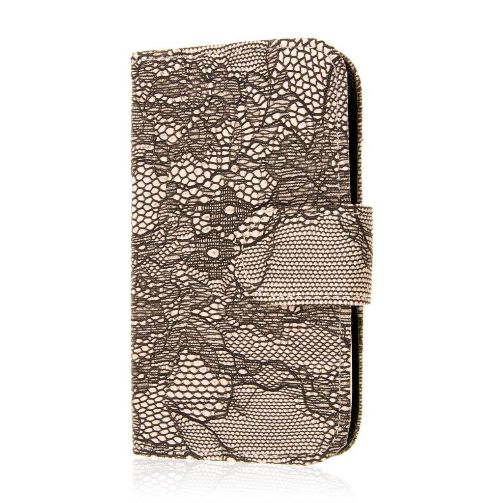 LG Leon - Black Lace MPERO FLEX FLIP Wallet Case Cover
