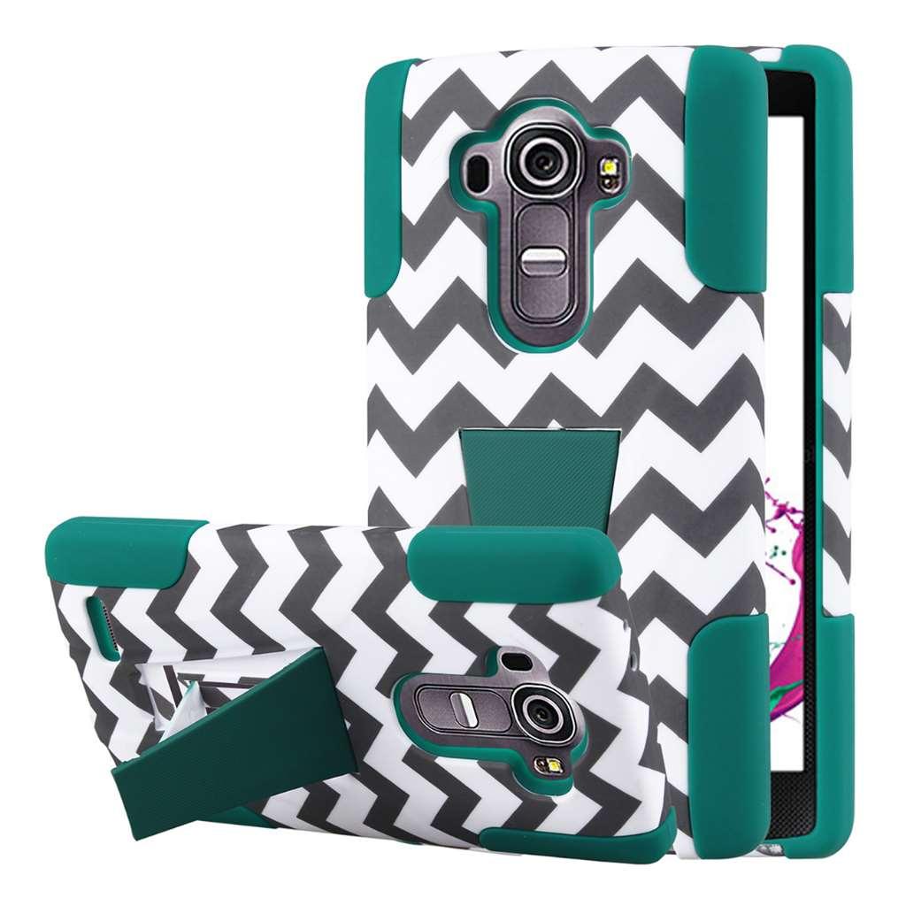 LG G4 - Teal Chevron MPERO IMPACT X - Kickstand Case Cover