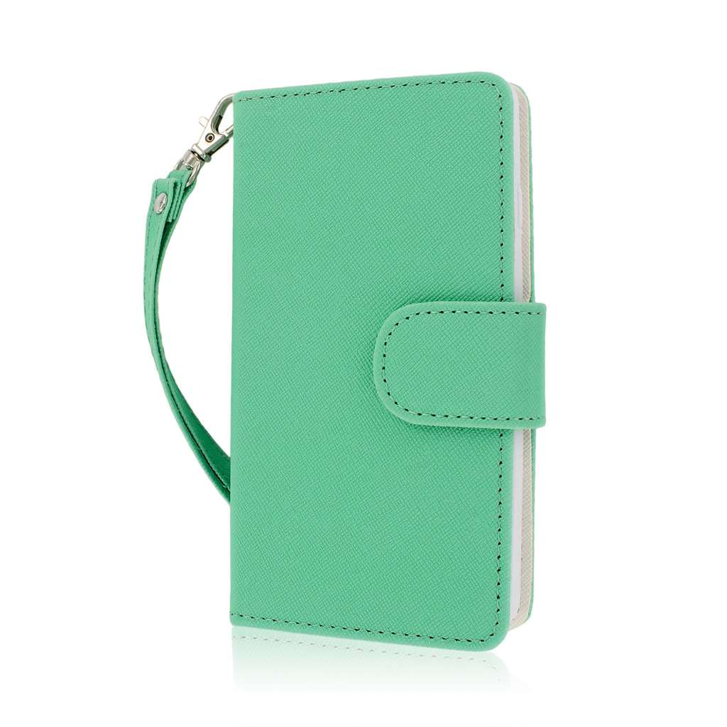 LG Optimus F7 US780 - Mint / White MPERO FLEX FLIP Wallet Case Cover
