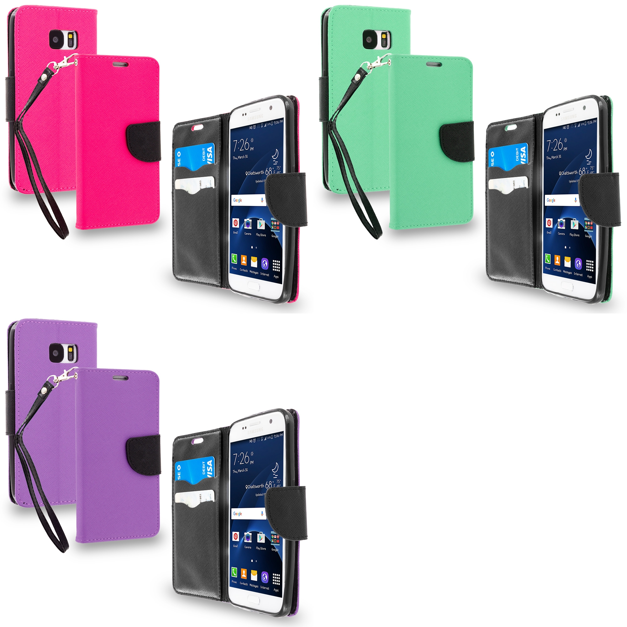 Samsung Galaxy S7 Combo Pack : Hot Pink / Black Leather Flip Wallet Pouch TPU Case Cover with ID Card Slots