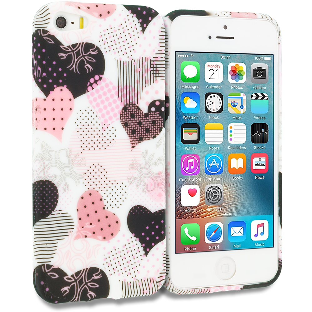 Apple iPhone 5/5S/SE Combo Pack : Hearts Full of Flowers on White TPU Design Soft Rubber Case Cover : Color Love desert on Sliver