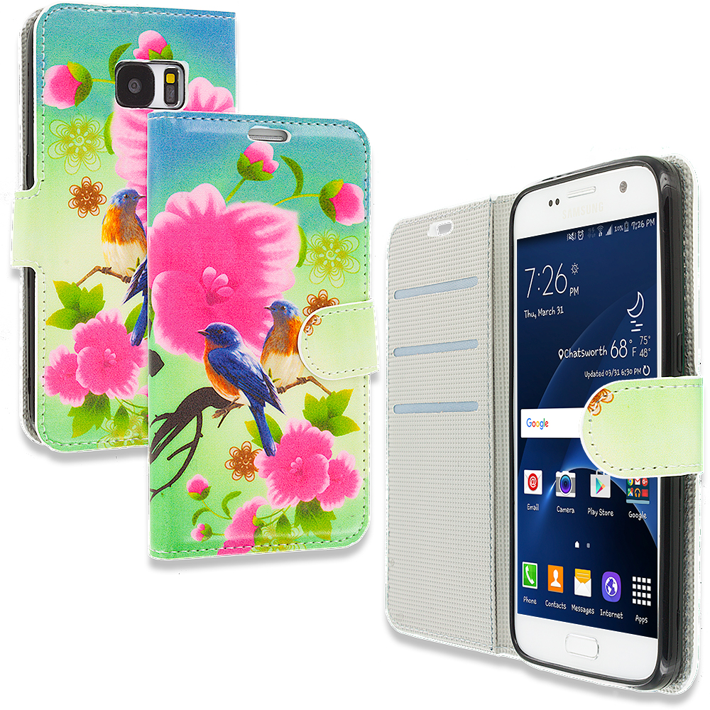 Samsung Galaxy S7 Blue Bird Pink Flower Design Wallet Flip Pouch Case Cover with Credit Card ID Slots