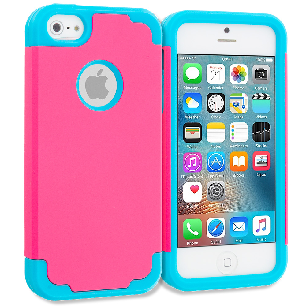 Apple iPhone 5/5S/SE Hot Pink / Baby Blue Hybrid Slim Hard Soft Rubber Impact Protector Case Cover