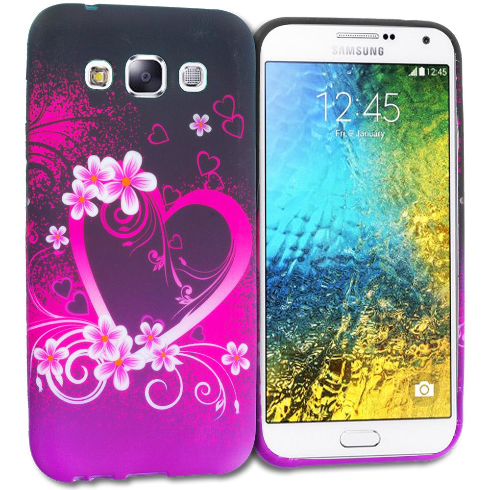 Samsung Galaxy E5 S978L Purple Love TPU Design Soft Rubber Case Cover