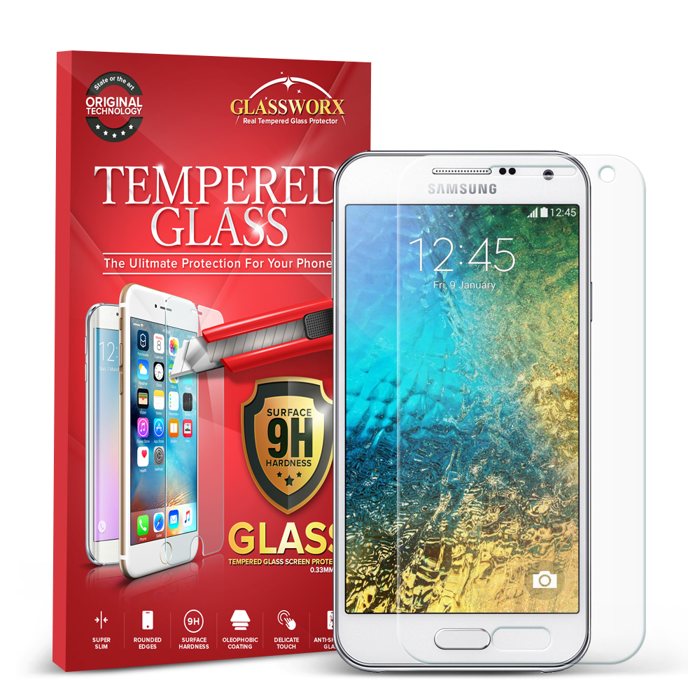 Samsung Galaxy E5 S978L Clear GlassWorX HD Tempered Glass Screen Protector