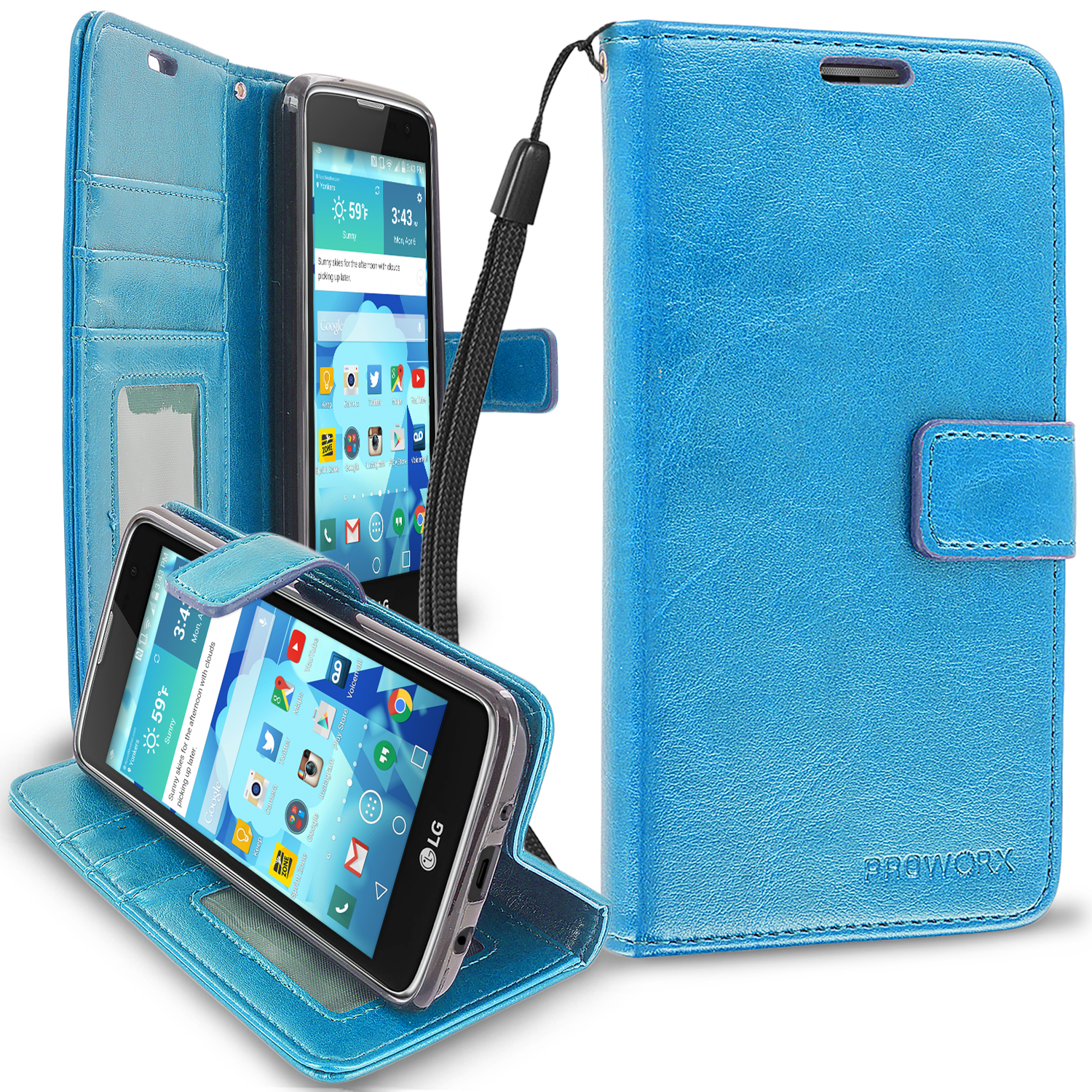 LG Tribute 5 K7 Baby Blue ProWorx Wallet Case Luxury PU Leather Case Cover With Card Slots & Stand