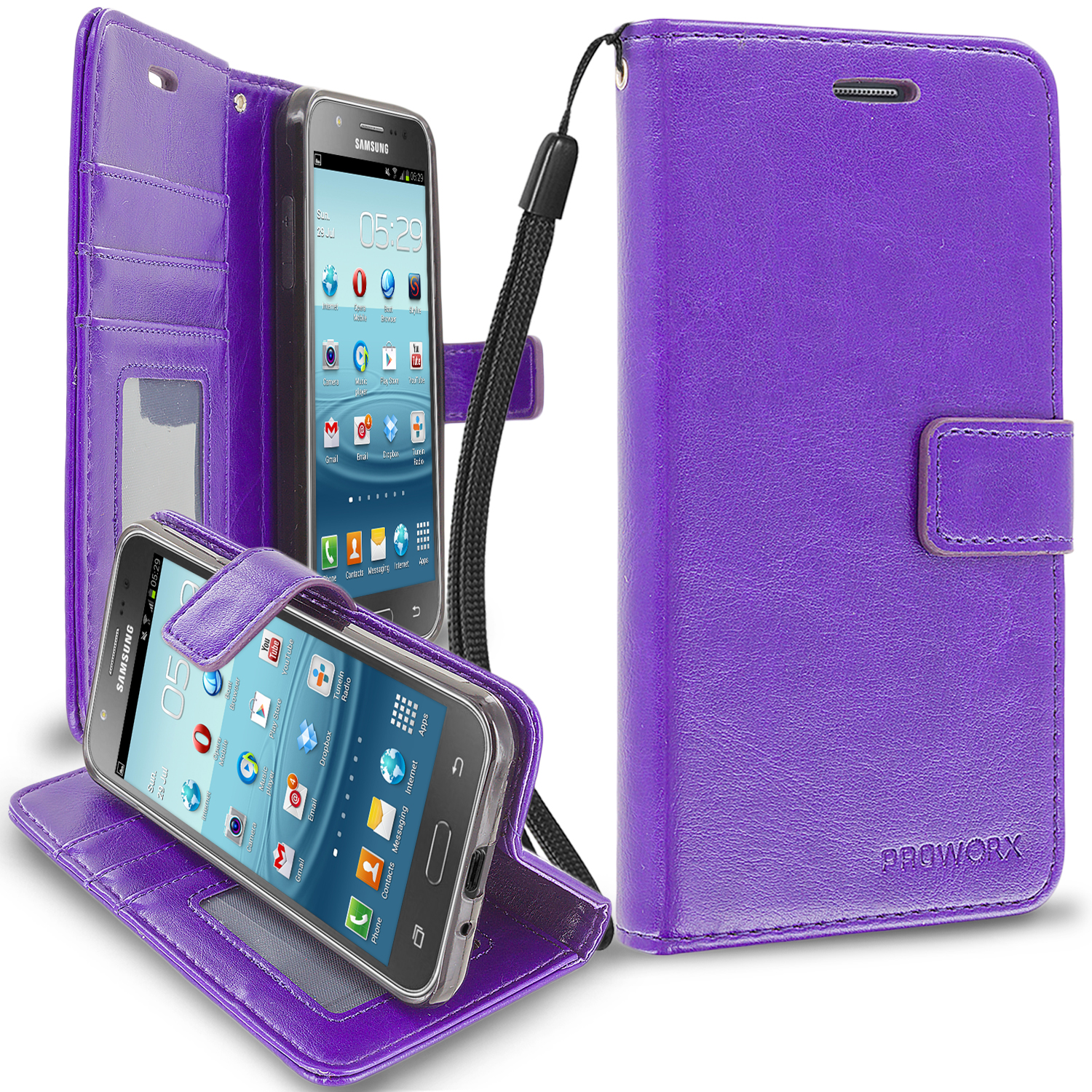 Samsung Galaxy J3 J320 / Amp Prime / Express Prime / J3V / SKY / SOL Purple ProWorx Wallet Case Luxury PU Leather Case Cover With Card Slots & Stand