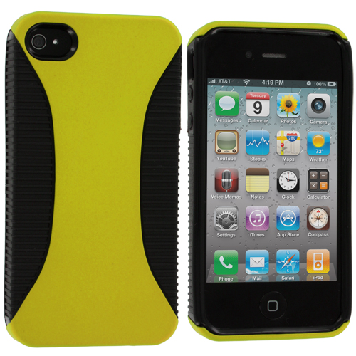 Apple iPhone 4 / 4S Black / Yellow Hybrid Hard/TPU Case Cover