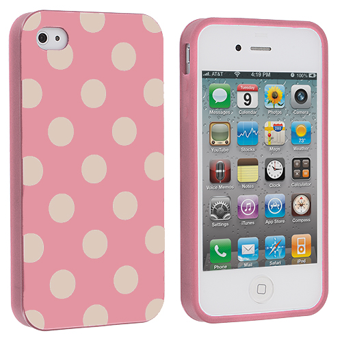Apple iPhone 4 / 4S Pink / White TPU Polka Dot Skin Case Cover