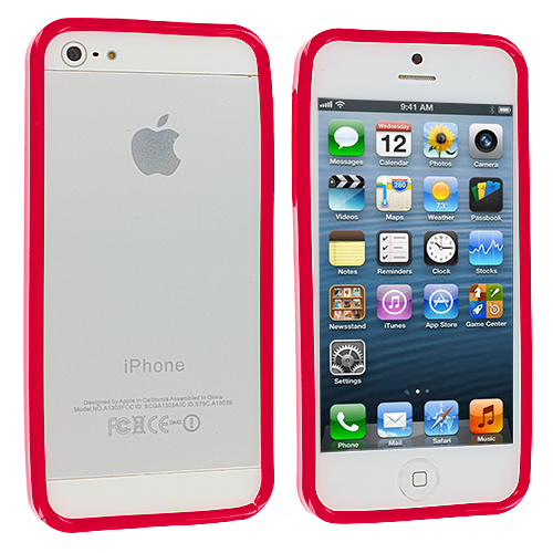 Apple iPhone 5/5S/SE Combo Pack : Red Solid TPU Bumper : Color Red Solid