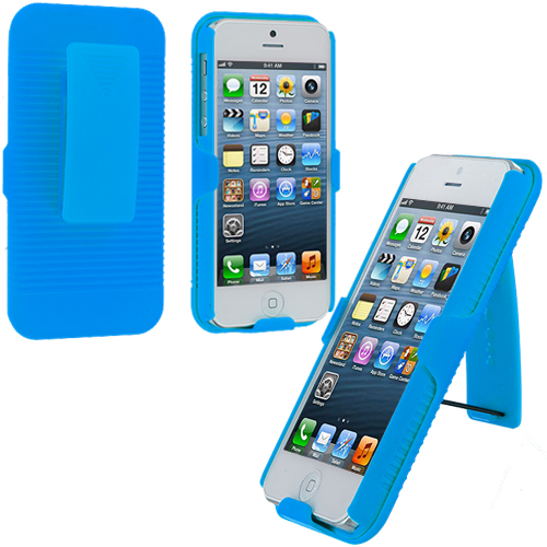 Apple iPhone 5/5S/SE Combo Pack : Baby Blue Hard Rubberized Belt Clip Holster Case Cover : Color Baby Blue