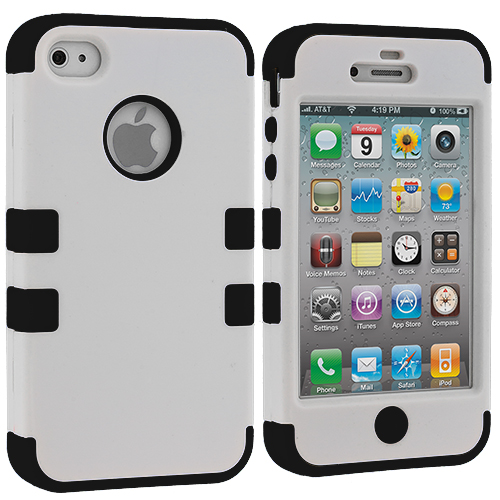 Apple iPhone 4 / 4S White / Black Hybrid Tuff Hard/Soft 3-Piece Case Cover