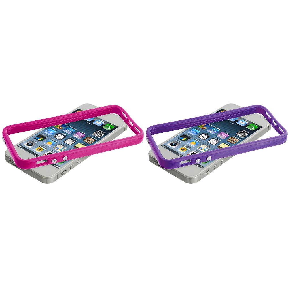 Apple iPhone 5/5S/SE Combo Pack : Solid Hot Pink TPU Bumper with Metal Buttons