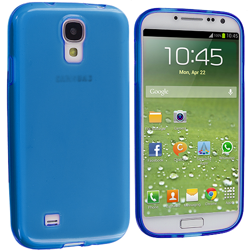 Samsung Galaxy S4 Blue Plain TPU Rubber Skin Case Cover