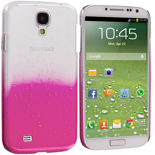 Samsung Galaxy S4 2 in 1 Combo Bundle Pack - Hot Pink Purple Crystal Raindrop Hard Case Cover : Color Hot Pink