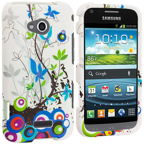 Samsung Galaxy Victory 4G Blue Autumn Flower Hard Rubberized Design Case Cover