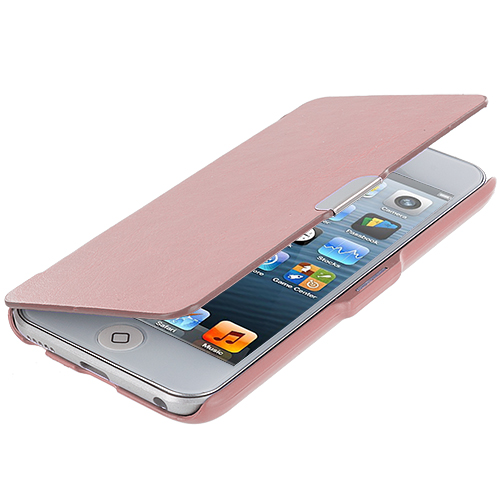 Apple iPod Touch 5th 6th Generation Light Pink Texture Magnetic Wallet Case Cover Pouch