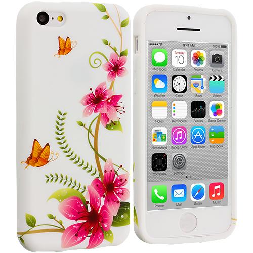 Apple iPhone 5C Corner Pink Flower TPU Design Soft Case Cover