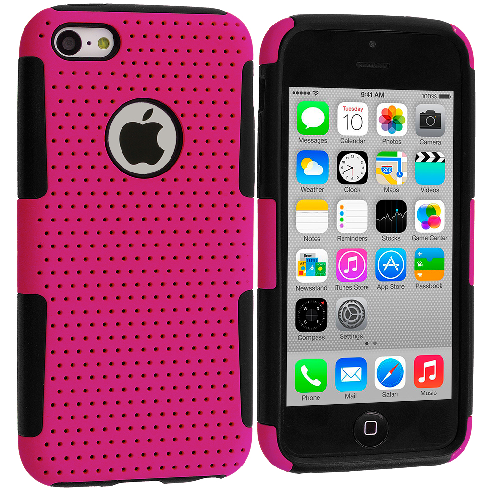 Apple iPhone 5C Black / Hot Pink Hybrid Mesh Hard/Soft Case Cover