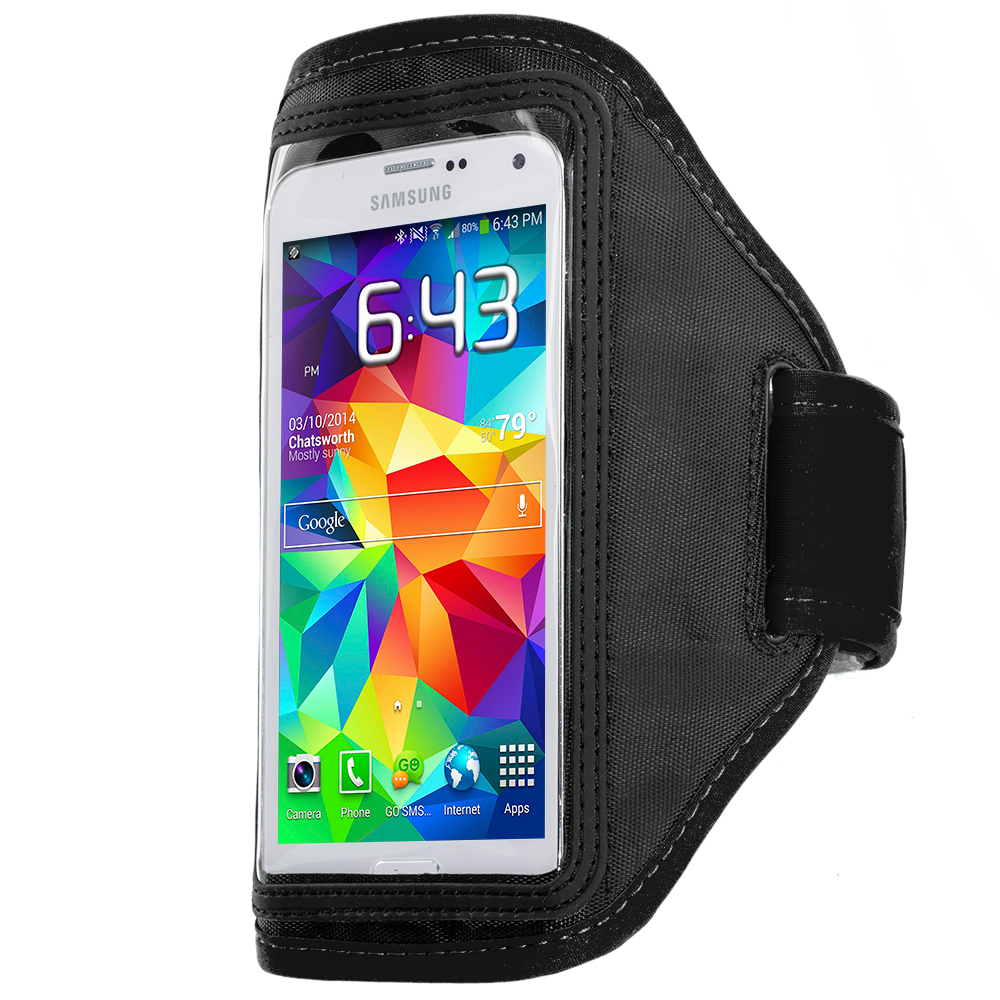Samsung Galaxy S5 2 in 1 Combo Bundle Pack - Black Pink Running Sports Gym Armband : Color Black