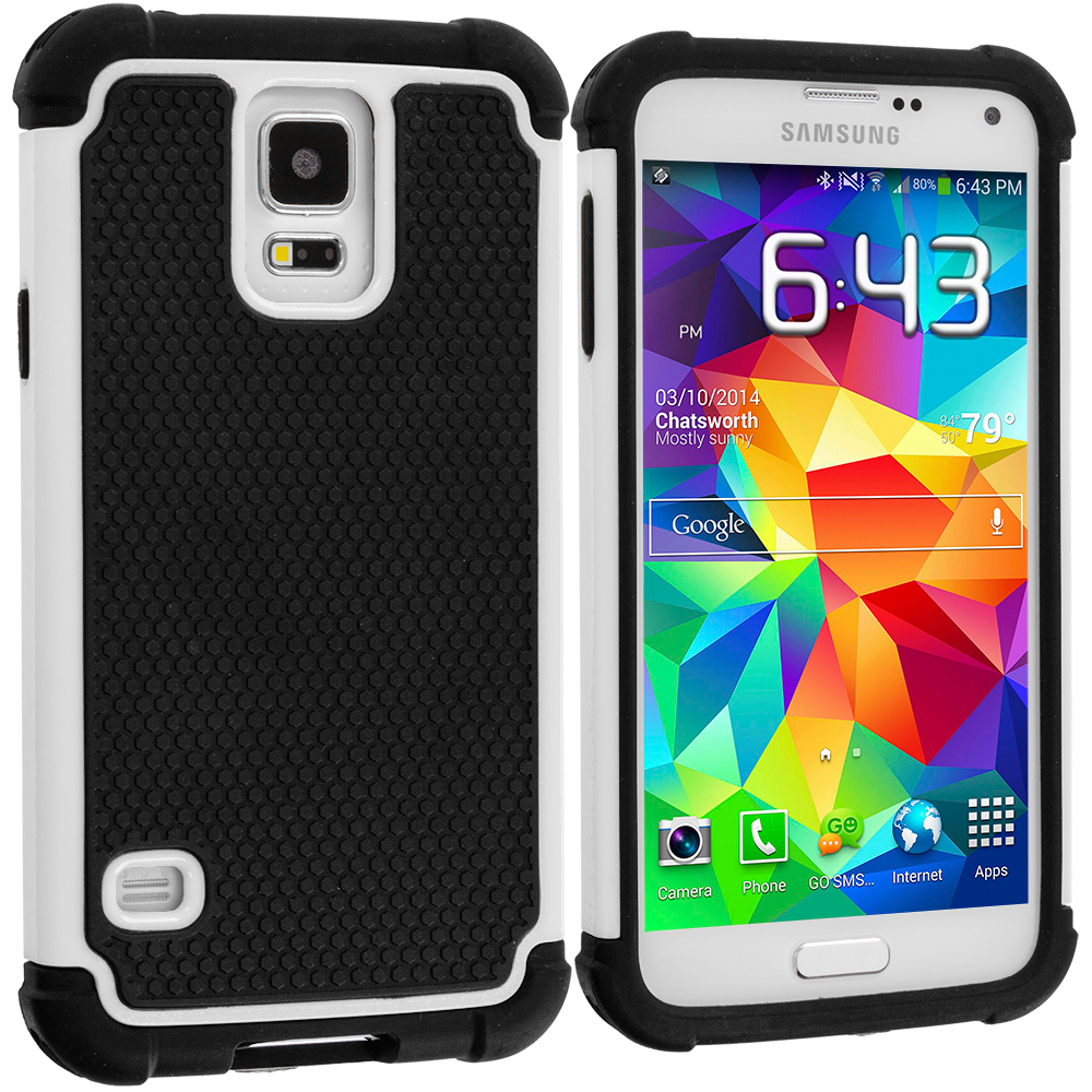 Samsung Galaxy S5 Black / White Hybrid Rugged Hard/Soft Case Cover