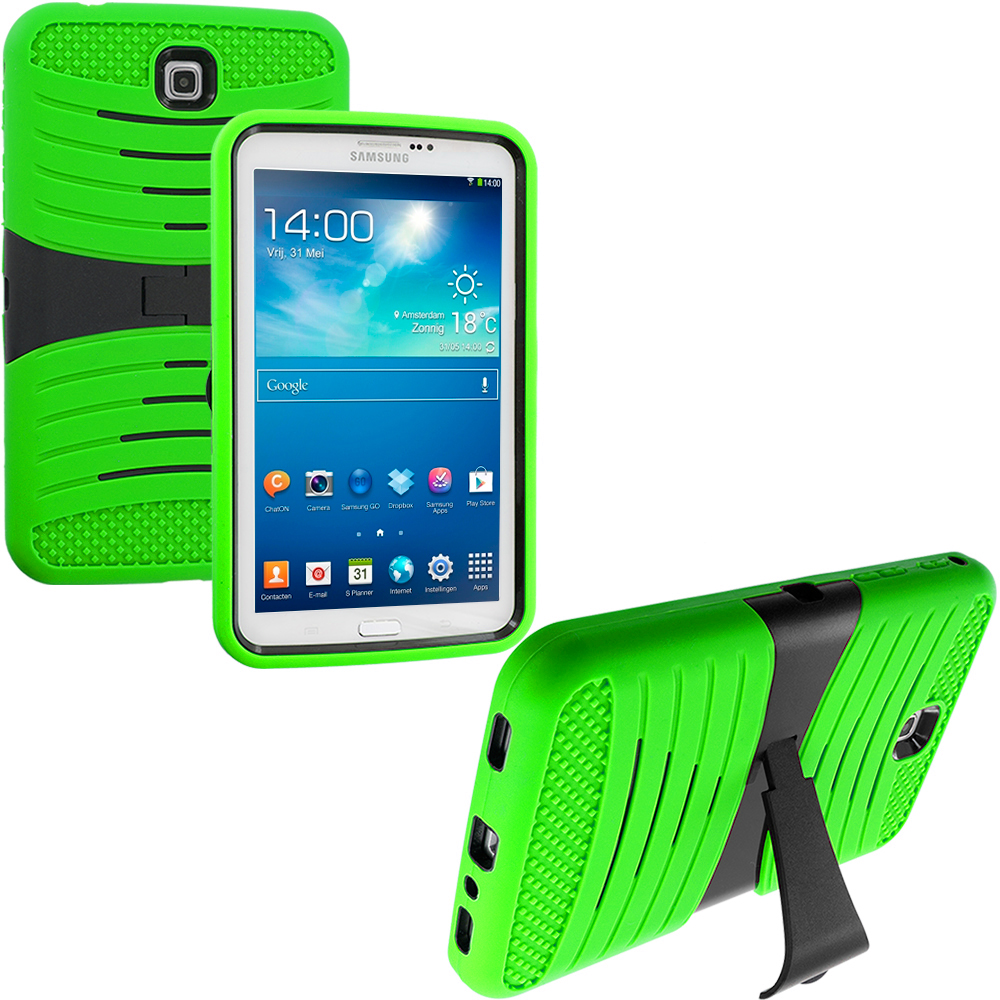 Samsung Galaxy Tab 3 7.0 Neon Green / Black Hybrid Hard/Silicone Case Cover with Stand