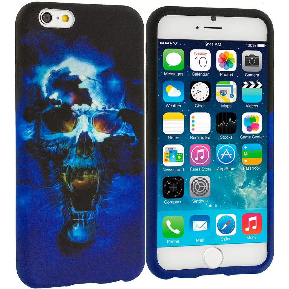 Apple iPhone 6 6S (4.7) Blue Skulls TPU Design Soft Case Cover