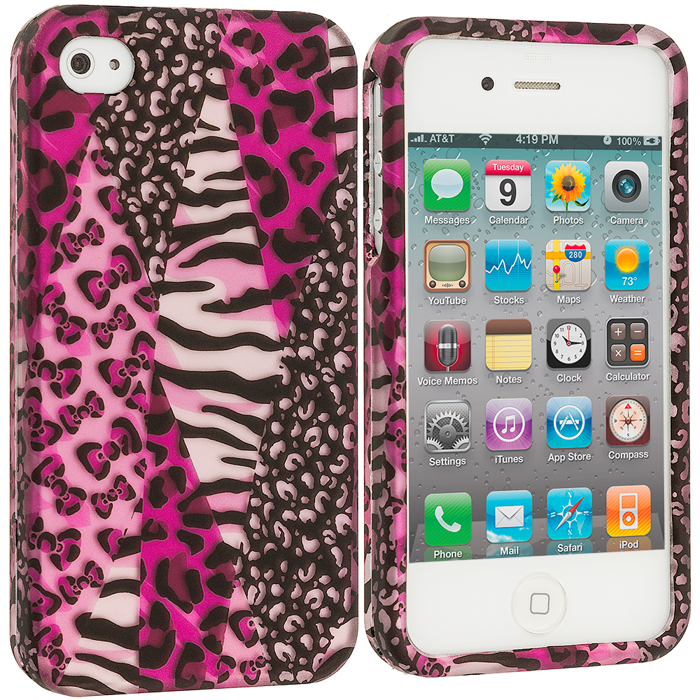 Apple iPhone 4 / 4S 2 in 1 Combo Bundle Pack - Zebra 2D Hard Rubberized Design Case Cover : Color Bowknot Zebra 2D