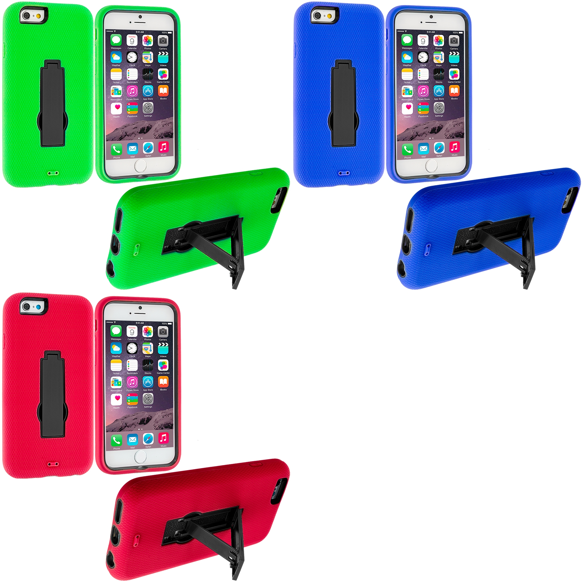 Apple iPhone 6 6S (4.7) 3 in 1 Combo Bundle Pack - Hybrid Heavy Duty Hard/Soft Case Cover with Stand
