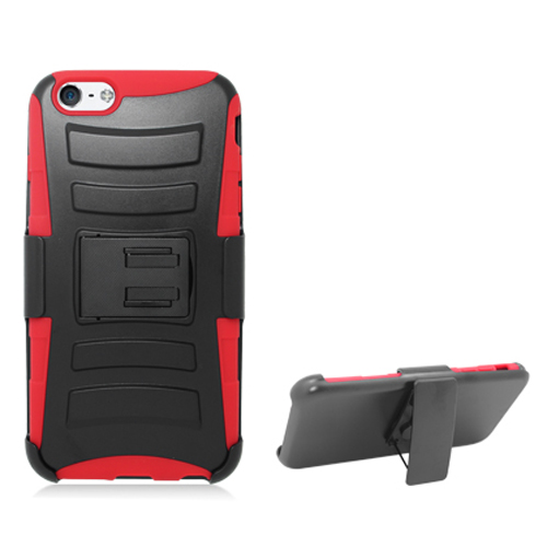 Apple iPhone 6 Plus 6S Plus (5.5) Black / Red Hybrid Heavy Duty Hard/Soft Case Cover with Holster