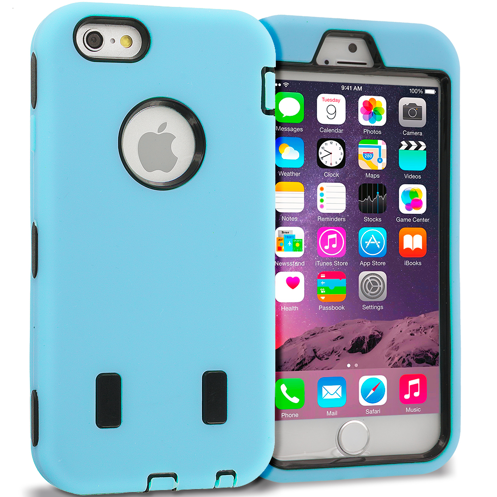 Apple iPhone 6 6S (4.7) Baby Blue / Black Hybrid Deluxe Hard/Soft Case Cover