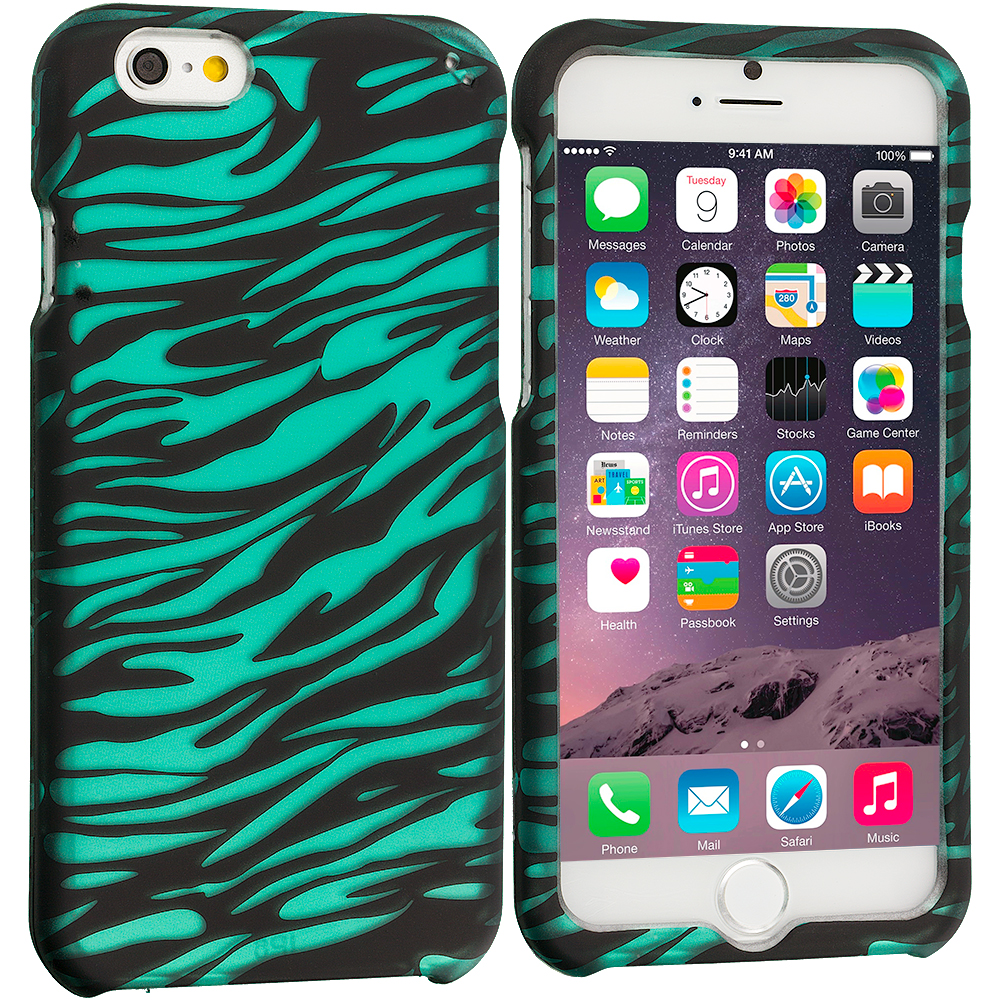 Apple iPhone 6 Plus 6S Plus (5.5) Black/Baby Blue Zebra 2D Hard Rubberized Design Case Cover