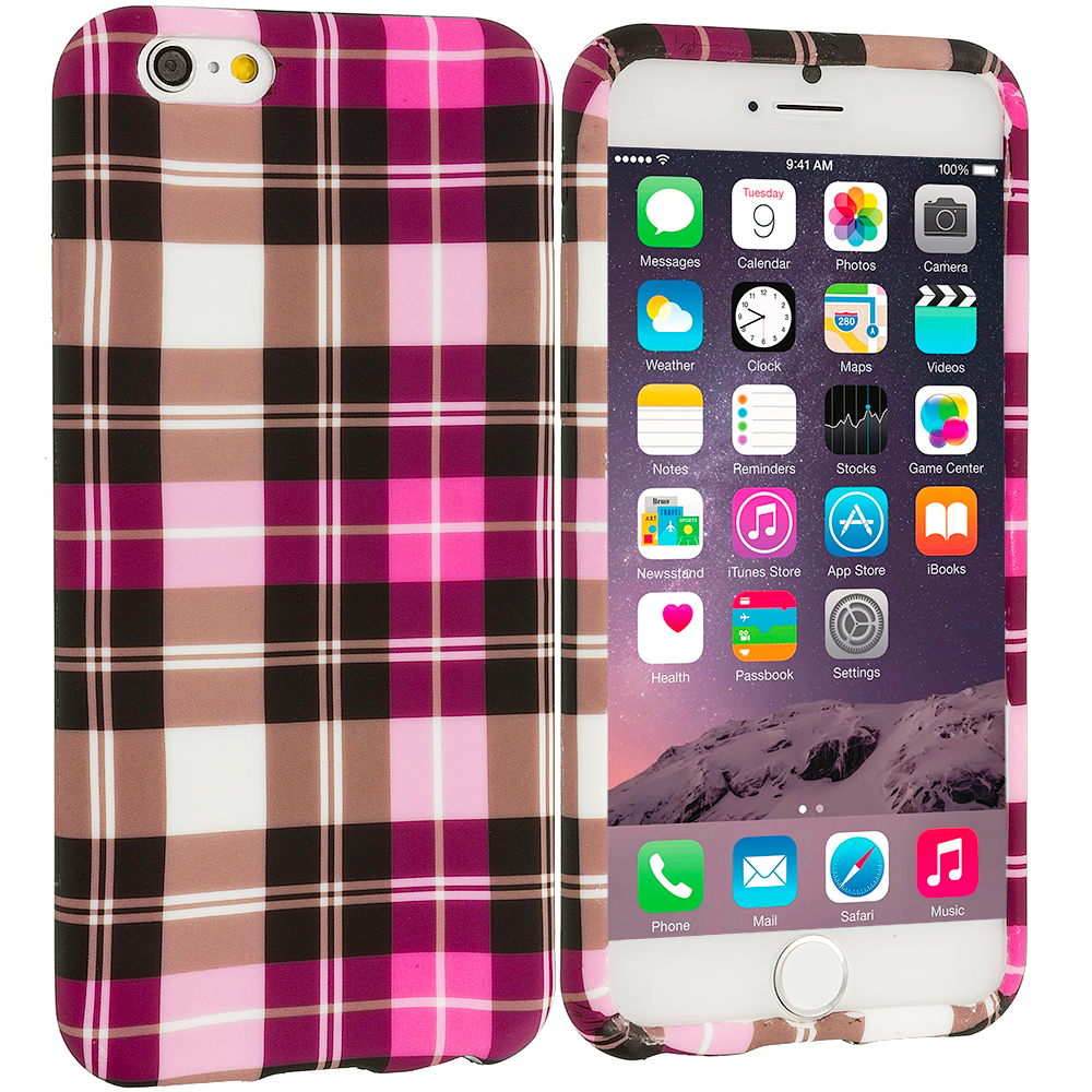 Apple iPhone 6 Plus 6S Plus (5.5) Hot Pink Checkered TPU Design Soft Rubber Case Cover