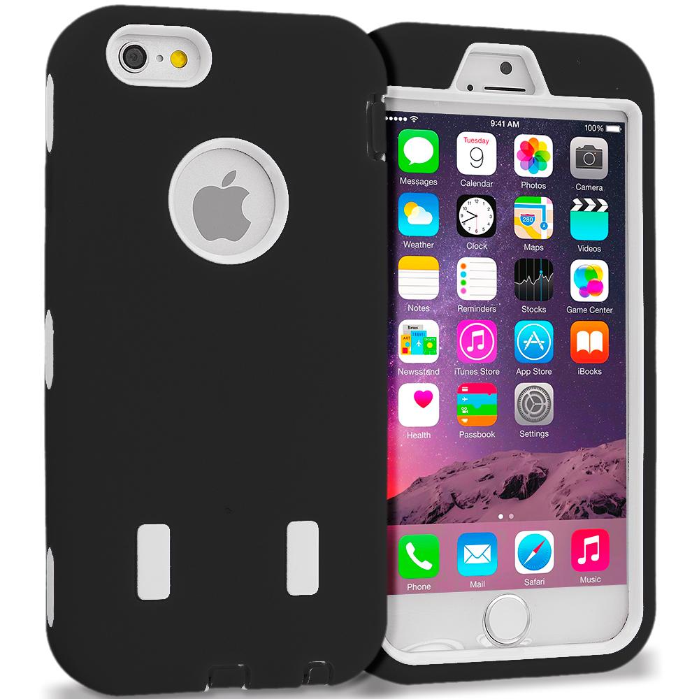 Apple iPhone 6 6S (4.7) Black / White Hybrid Deluxe Hard/Soft Case Cover