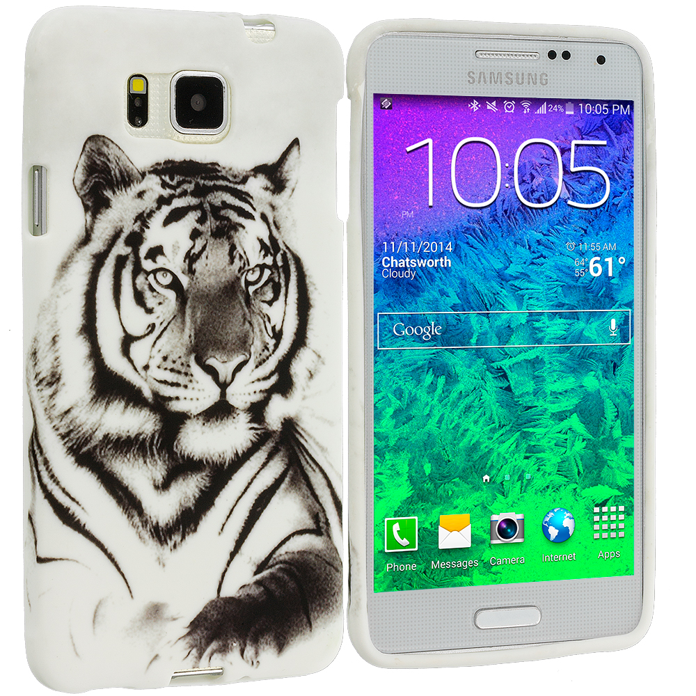Samsung Galaxy Alpha G850 White Tiger TPU Design Soft Rubber Case Cover