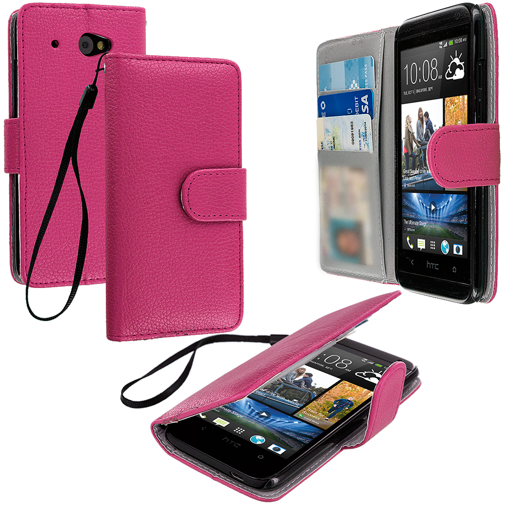 HTC Desire 601 Hot Pink Leather Wallet Pouch Case Cover with Slots