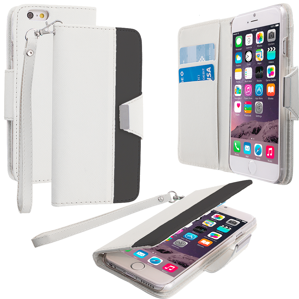 Apple iPhone 6 Plus 6S Plus (5.5) 3 in 1 Combo Bundle Pack - Wallet Magnetic Metal Flap Case Cover With Card Slots : Color White