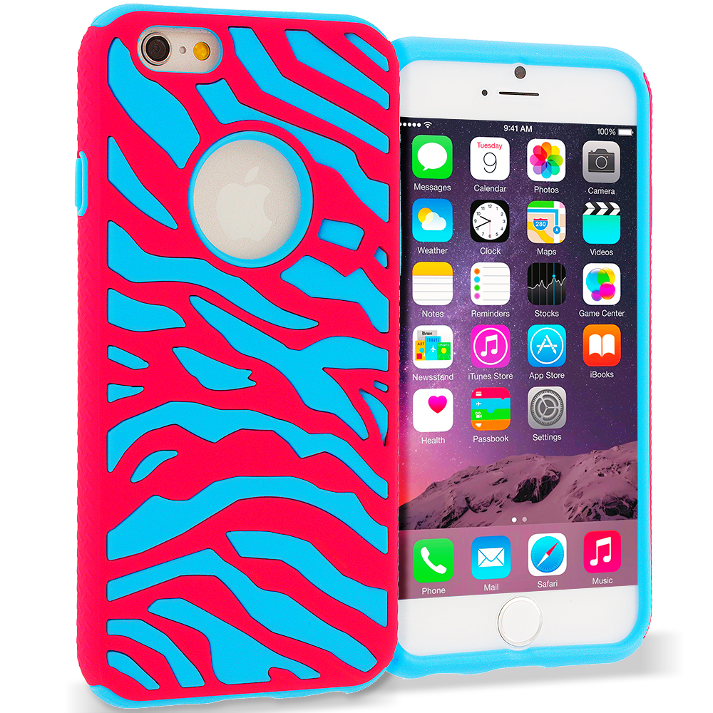 Apple iPhone 6 6S (4.7) 5 in 1 Combo Bundle Pack - Hybrid Zebra Hard/Soft Case Cover : Color Hot Pink / Baby Blue