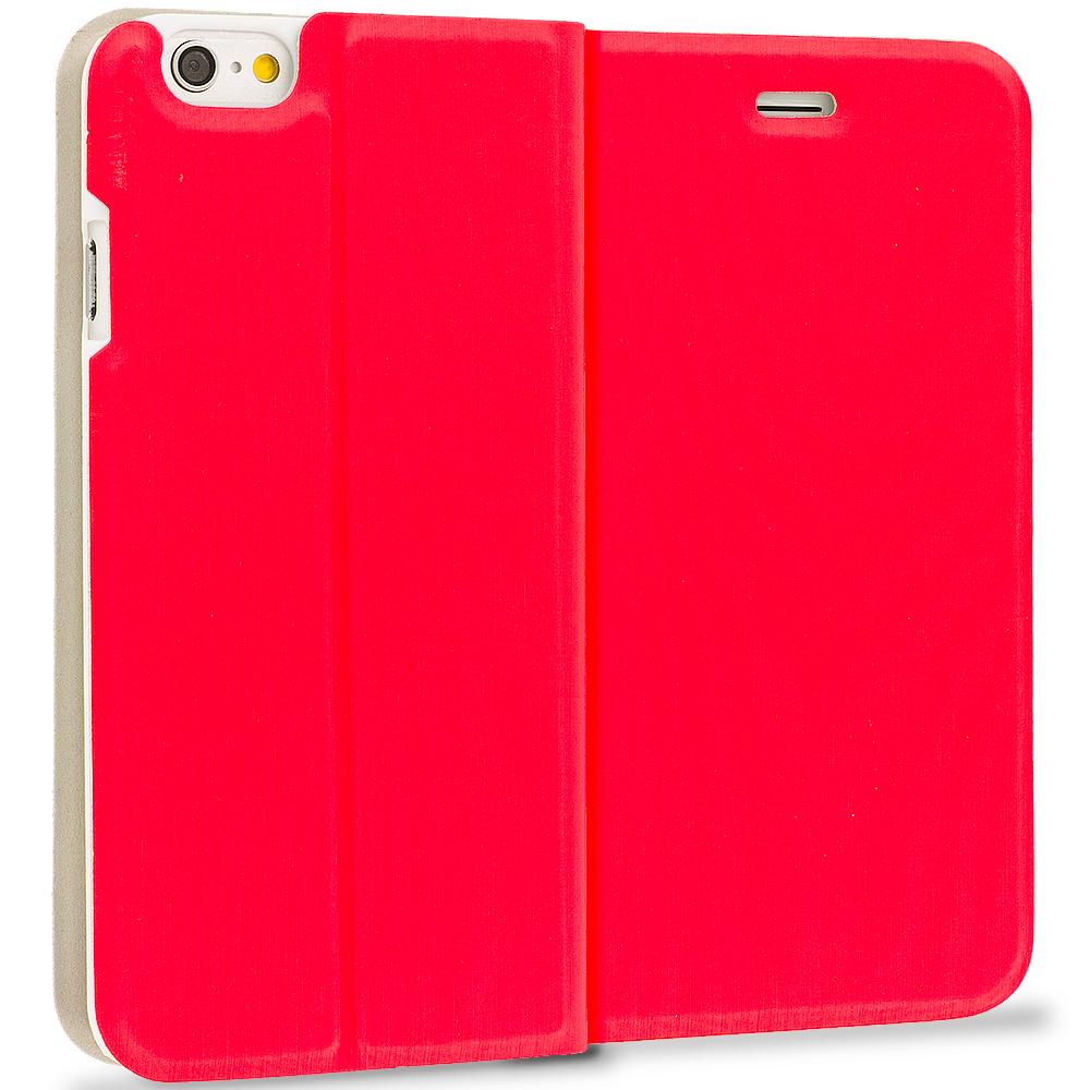 Apple iPhone 6 Plus 6S Plus (5.5) 4 in 1 Combo Bundle Pack - Slim Flip Wallet Case Cover : Color Red