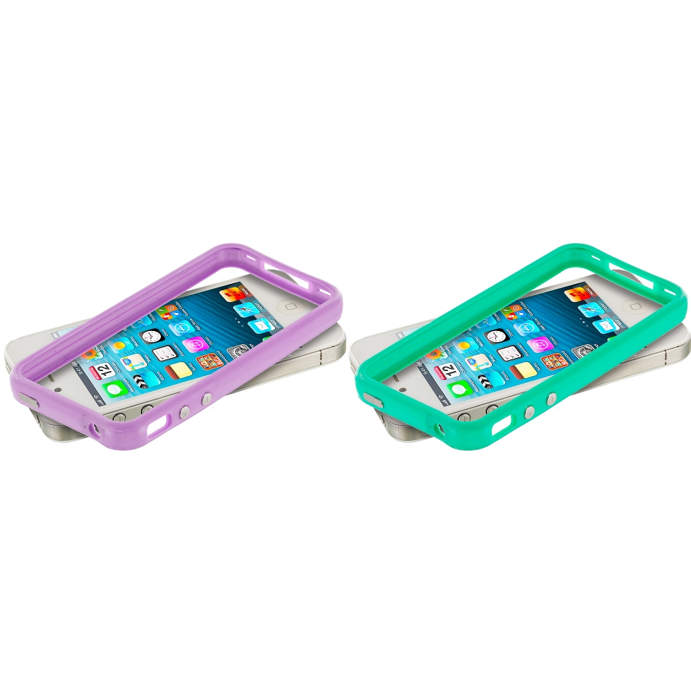 Apple iPhone 4 / 4S 2 in 1 Combo Bundle Pack - Light Purple Teal TPU Bumper Frame Case Cover