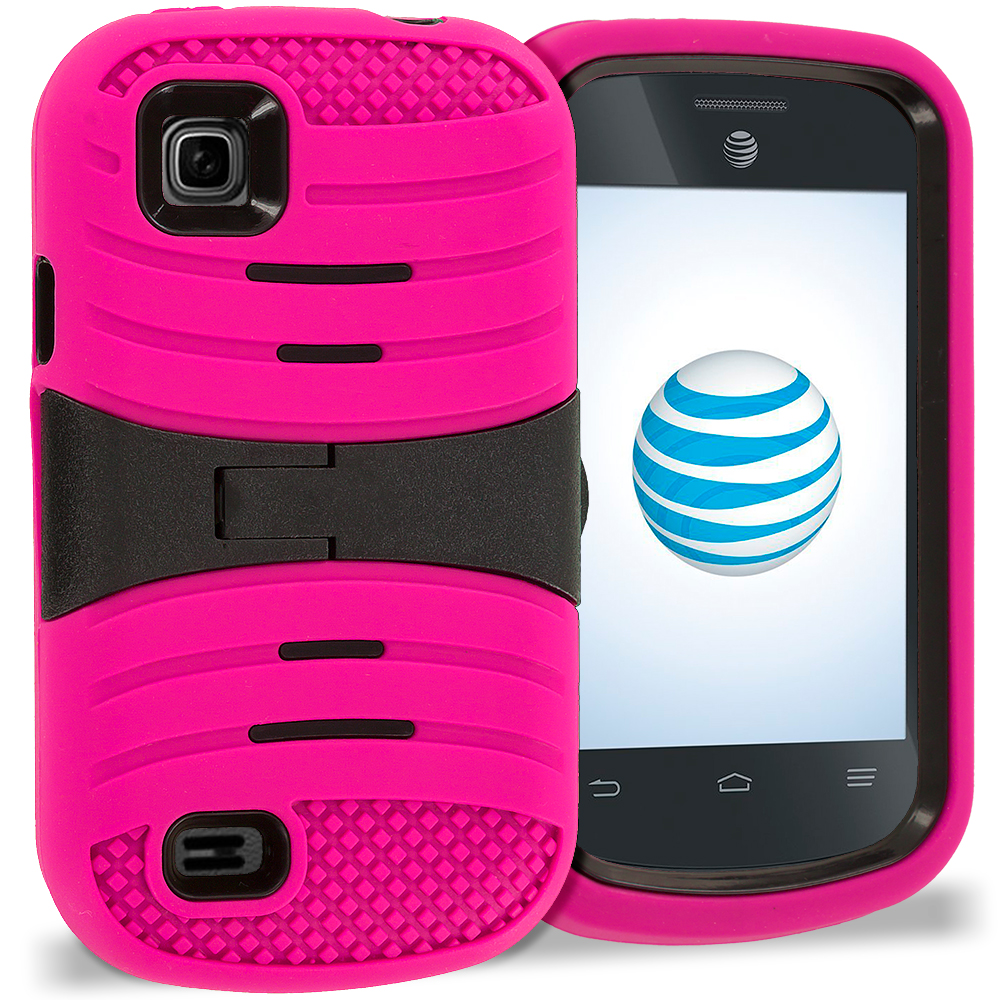 ZTE Avail 2 Z992 Hot Pink / Black Hybrid Heavy Duty Shockproof Case Cover with Stand