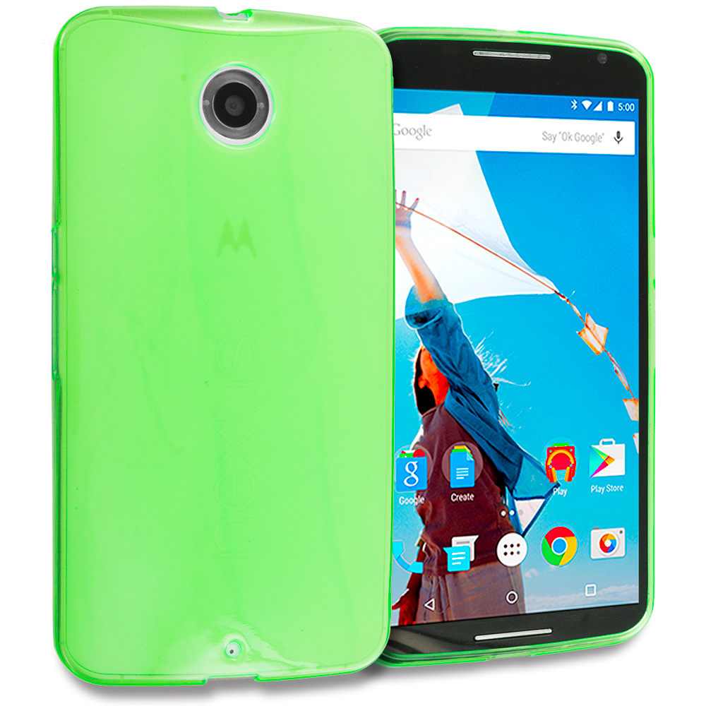 Motorola Google Nexus 6 Neon Green TPU Rubber Skin Case Cover