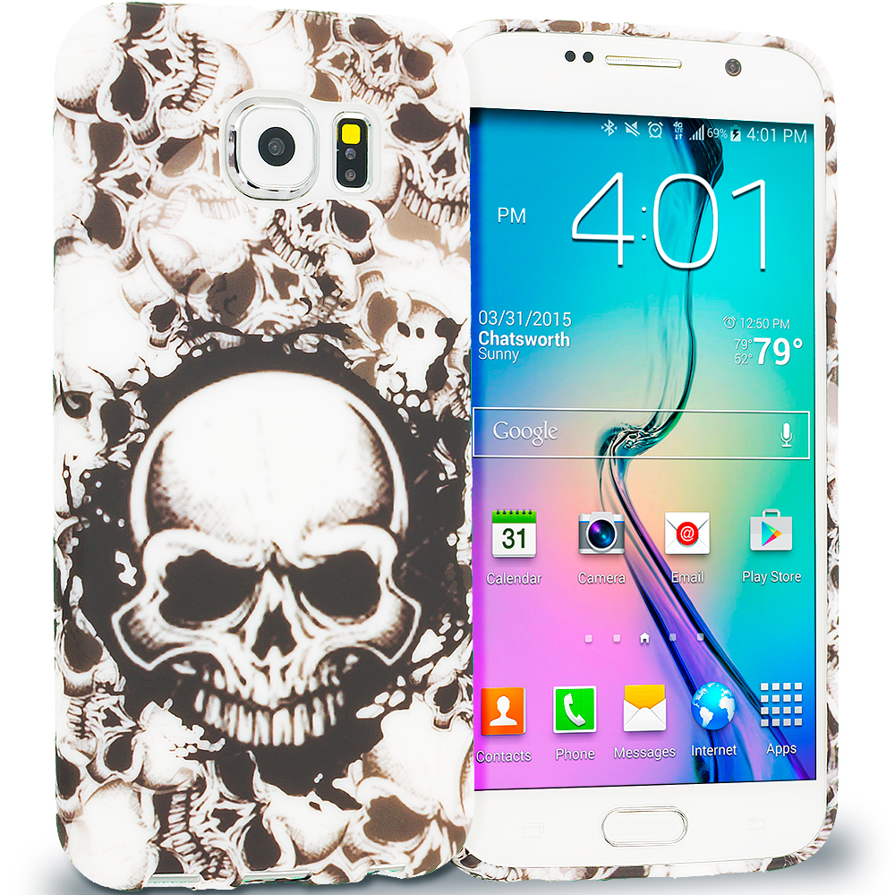 Samsung Galaxy S6 Black White Skulls TPU Design Soft Rubber Case Cover