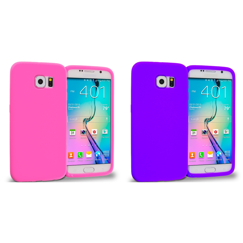 Samsung Galaxy S6 Combo Pack : Hot Pink Silicone Soft Skin Rubber Case Cover
