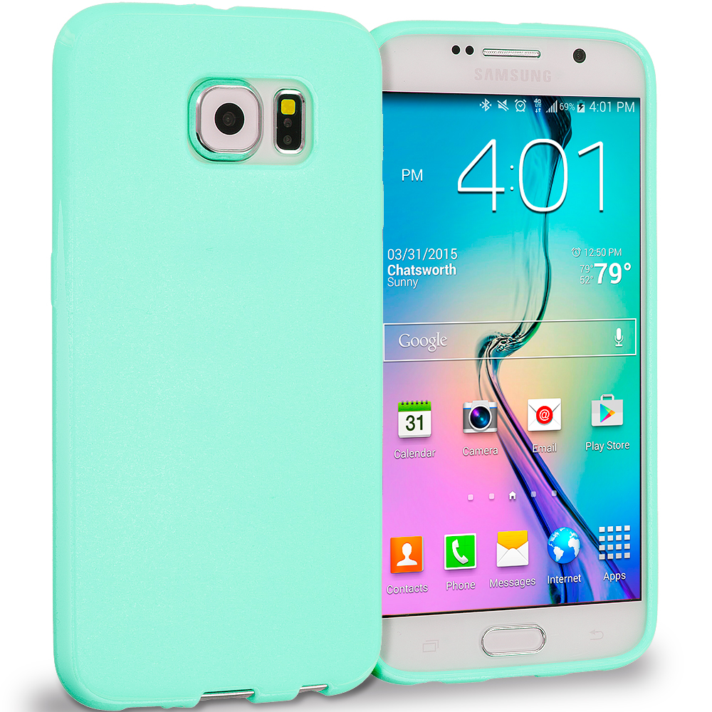 Samsung Galaxy S6 Mint Green Solid TPU Rubber Skin Case Cover